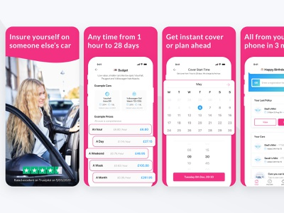 Lenny Temporary Insurance - App Screenshots pink minimal pricing time selection temporary insurance car insurance insurance app store design app screenshots ios app store app store marketing ios app mobile app branding interface product design app ux ui
