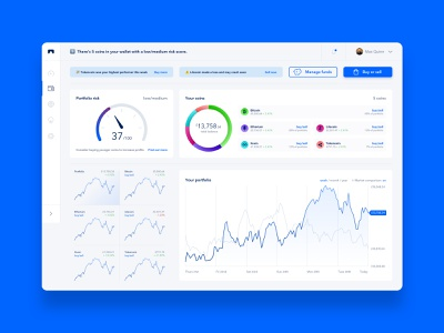 Crypto Currency App - Portfolio shares stocks fintech finance modern graphs portfolio data visualisation charts crypto wallet cryptocurrency crypto clean interface web design website product design app ux ui
