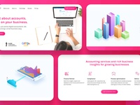 Abacai - Digital Accounting Landing Page chart data b2b saas isometric illustration website concept website design pink gradient marketing site accountancy landing page accountant icon isometric illustration branding interface web design website
