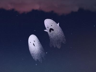 ghosts illustration dark clouds
