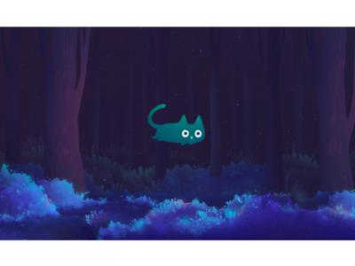 cat in magic atmosphere forest illustration