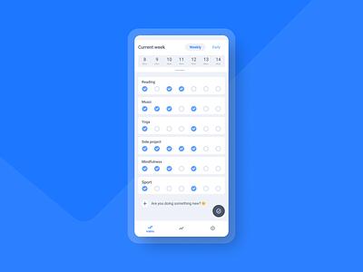 Qhabit - Weekly view checklist weekly view habits habit tracker design uxui mobile app tracker ui