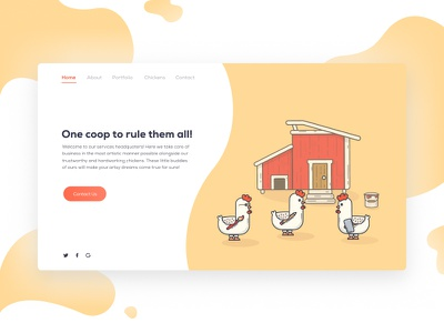 Web Illustration - Chickens simple modern minimalist rounded cute flat illustration web coop chicken