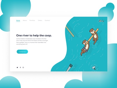 Web Illustration Otters web illustration otter minimalist illustration flat cute clean blue 2d