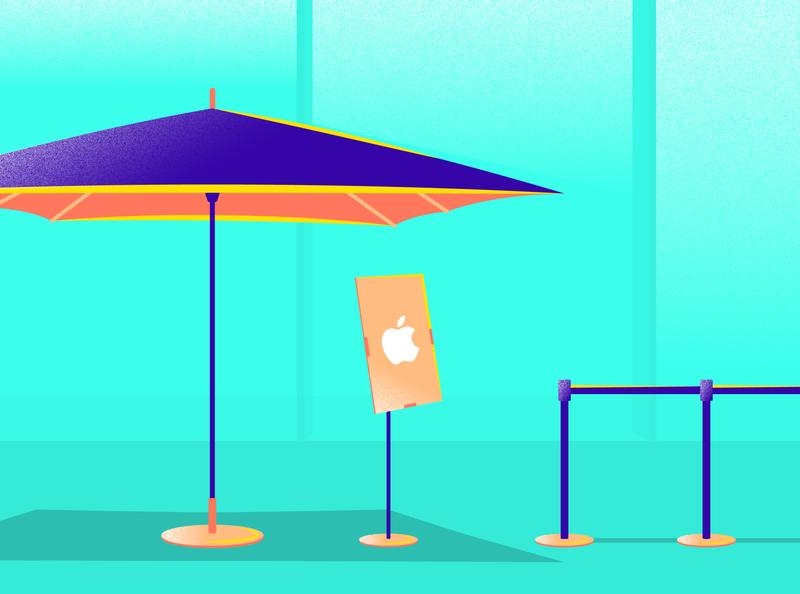 Apple Store Curbside Pavilion tropical illustration store retail tent umbrella pavilion pickup curbside apple store covid-19 coronavirus covid