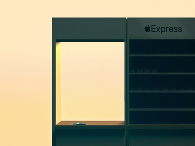 Express Storefront Sunset covid kiosk express storefront retail cinema 4d illustration apple store
