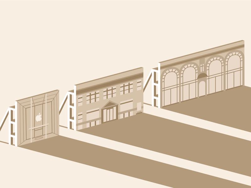 Apple Store Facades isometric prop illustration scaffolding apple store facade store apple