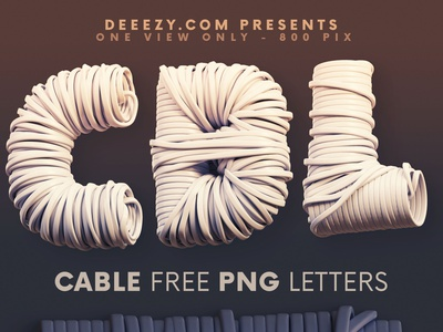 Cable - Free 3D Lettering unique typography graphic design graphics png 3d typeface 3d font 3d typography plastic connection cable 3d freebies free typography deeezy free font font typography free graphics freebie free
