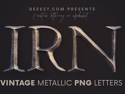 Vintage Metallic - Free 3D Lettering fantasy serif vintage font metal metallic iron alphabet 3d font 3d typography 3d free typography retro vintage free font deeezy font typography free graphics freebie free