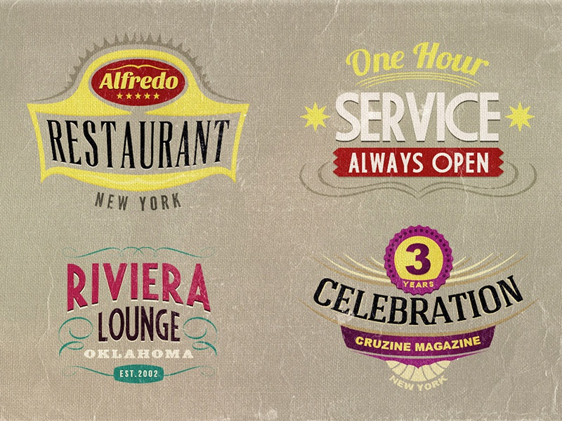 4 FREE Retro Sign Templates free freebie download dealjumbo retro vintage logo badge photoshop simple typography insignia