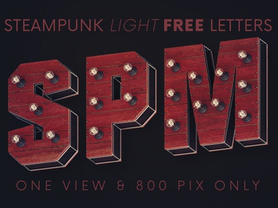 Steampunk Lights - Free 3D Lettering typeface wooden light bulb light font sign marquee vintage lettering letters alphabet design free font deeezy font typography free graphics freebie free