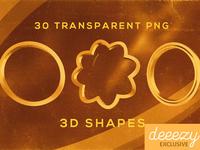 30 Free Metalic PNG Shapes