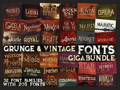 Grunge & Vintage Fonts Giga Bundle retro typography script retro vintage grunge dealjumbo font bundle deal bundle typography fonts font