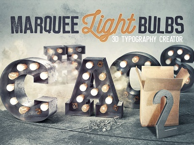 Marquee Light Bulbs 2 – Chaos light typography vintage typography 3d lettering grunge retro vintage lettering 3d typography font light bulbs marquee
