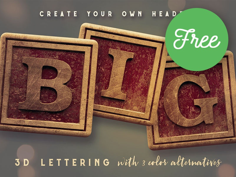 FREE Vintage Wooden Box 3D Lettering