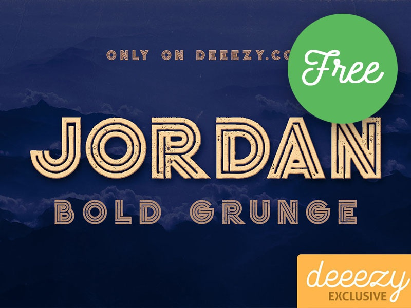 Free Font - Jordan Bold Grunge unique font download free font display font modern font inline font grunge font free typography free typeface free font font freebie free