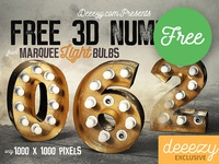 FREE Golden Marquee Light Bulbs Numbers