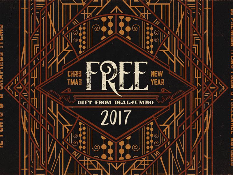 Free Christmas 2017 Gift from Dealjumbo typography retro font vintage font christmas free bundle free vectors free fonts free font free graphics freebie free
