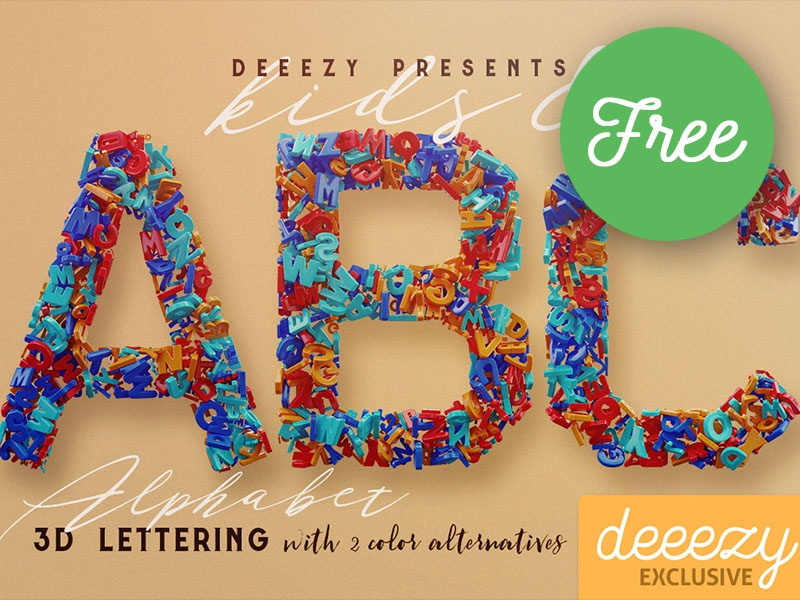 Kids & Alphabet - FREE 3D Lettering by CruzineDesign on Dribbble