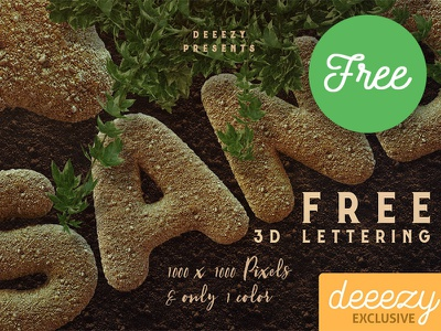 Sand or Soil FREE 3D Lettering 3d typography 3d lettering 3d grunge soil font sand font soil sand free lettering free typography free font free graphics free download deeezy freebie free