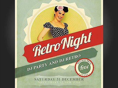 Retro Party Flyer flyer poster invitation retro vintage party flyer retro flyer vintage flyer flyer template retro poster template photoshop photoshop template
