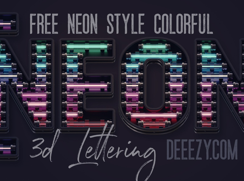 Free Colorful Neon 3D Lettering colorful neon light header png 3d letters 3d free letters neon typography neon letters neon font neon free font font free graphics typography freebie free