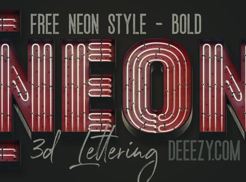 Free Bold Retro Neon 3D Lettering retro typography retro font retro neon png neon typography neon letters neon font neon free typeface free letters deeezy free typography free font font free graphics typography freebie free