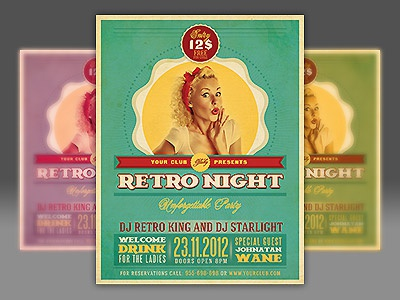 Retro party flyer template by cruzinedesign dribbble retro style and unique flyer poster invitation design for your next party or project the final package you download includes a fully layered renamed maxwellsz