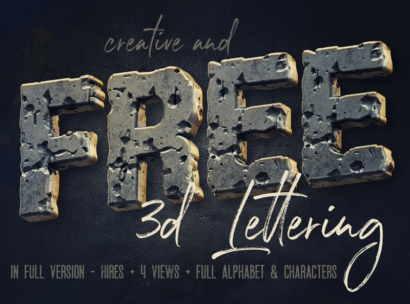 Free Rough Metal 3d Lettering free typeface metal letters metal metalic font 3d typography 3d letters 3d freebies free typography free font font free graphics typography freebie free