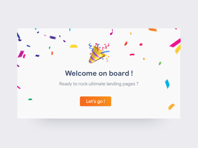 Onboarding Modal party emoji ui welcome screen welcome confetti shadow shadows vibrant success successful modal box modal onboarding screen onboarding