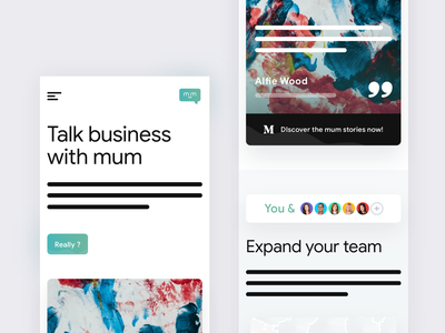 Mobile Landing Page for @Mum testimonials testimonial exploration visual brand exploration cta product sans rounded abstract typography design ui gradient shadow wireframe landing page mobile