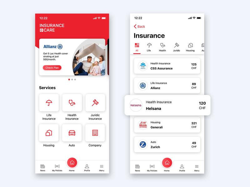 Insurance App ui ux mobile app flat  design creative clean app icon insurance app onboarding mobile app design