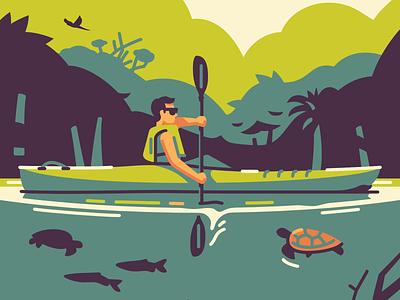 Bolivian Jungle branding vector shadow illustration character adventure canoe kayak jungle bolivia