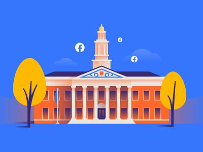 Harvard X FB illustration vector building university harvard facebook