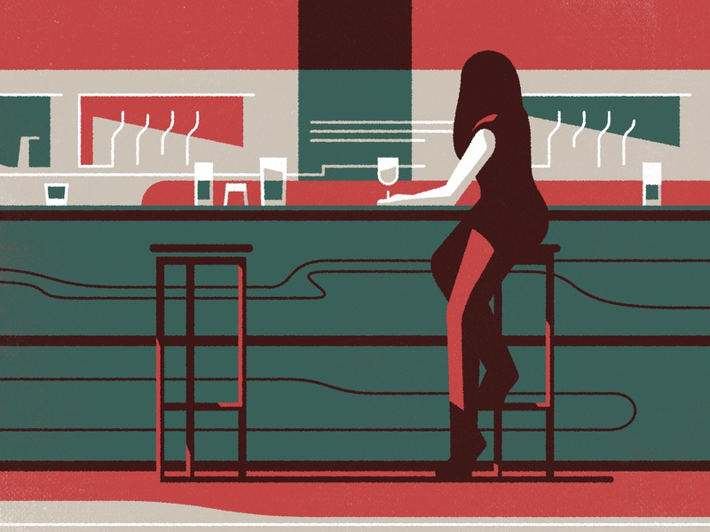 Boots Magazine UK - Loneliness female boots bar drink drinking character vector shadow illustration