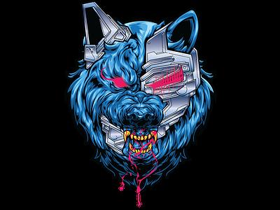 CYBERWOLF cyberpunk adobe illustrator adobe illustrator illustration wacom pentool vector