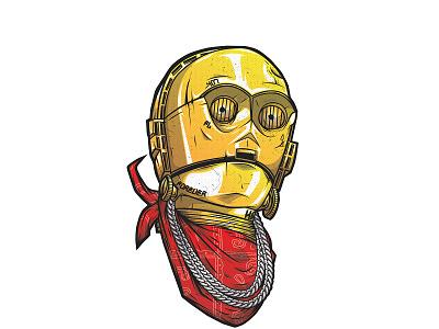 C-3PO pentool wacom illustration vector