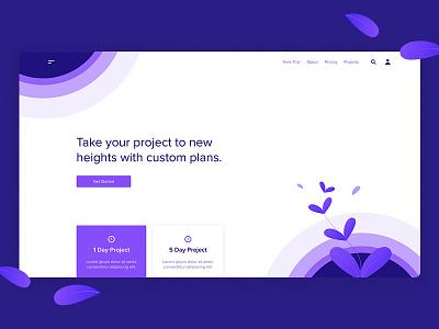 Landing Page Exploration #02 management project growth ux ui website web design landing page illustration clean