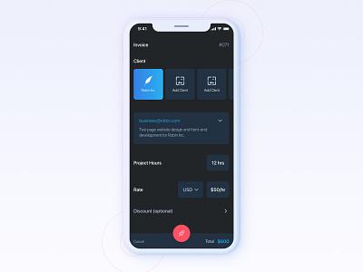 Invoice App calculator work dark dark theme user interaction quote payment invoice ux ui clean app design app