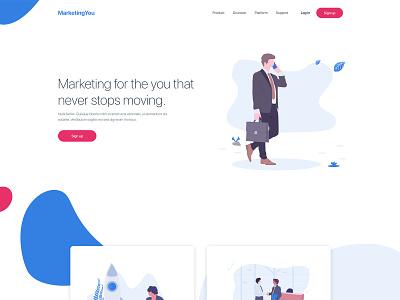Marketing Website advertising marketing exploration webpage design landing page design ui illustration ux clean web design website