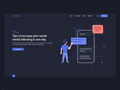 Social Media Website growth social network social media design vector exploration dark theme illustration website app landing page web design clean ux ui