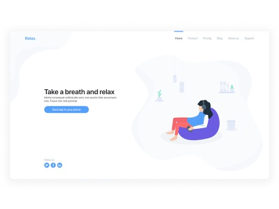 Landing Page breathing meditation relax design exploration illustration website landing page app web design clean ux ui