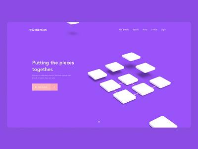 3D Landing Page - 01 3 colors color branding 3d adobe dimension madewithadobexd exploration website landing page web design clean ux ui