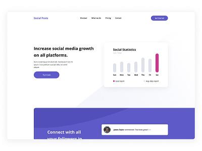 Social Growth Landing Page social media social marketing madewithadobexd illustration design exploration website landing page web design clean ux ui