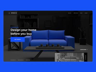 3D Landing Page - 02 interior design adobe dimension 3d madewithadobexd design exploration website landing page web design clean ux ui