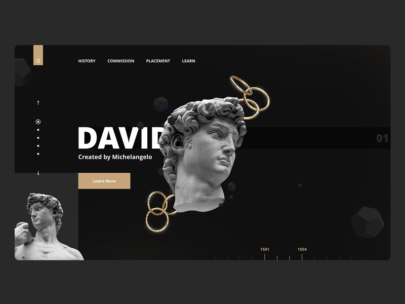 History Landing Page statue adobe dimension design madewithadobexd dark theme exploration website landing page web design clean ux ui