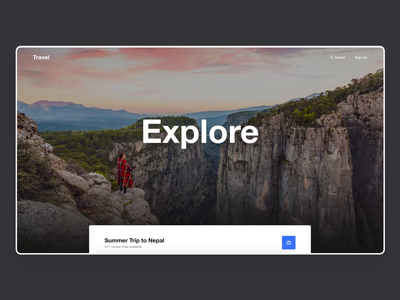 Travel Landing Page - Parallax Effect parallax scrolling parallax parallax website parallax effect prototype travel website travel dark theme design exploration website madewithadobexd landing page web design clean ux ui