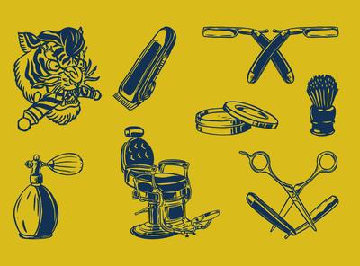 8 Barbershop Logo Set