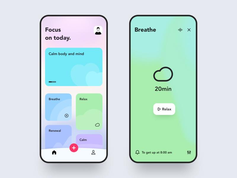 Meditation interface 🧘♀️ mobile ui app mobile vector branding ux ui 设计 design