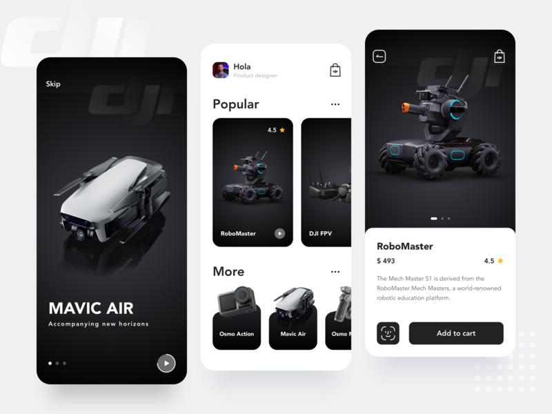 DJI display UI app ux ui typography flat 设计 design